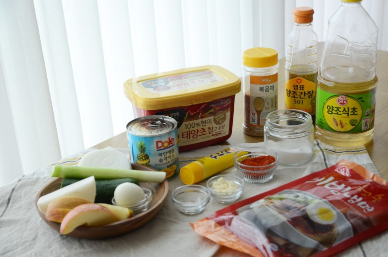 韓式拌冷麵食材